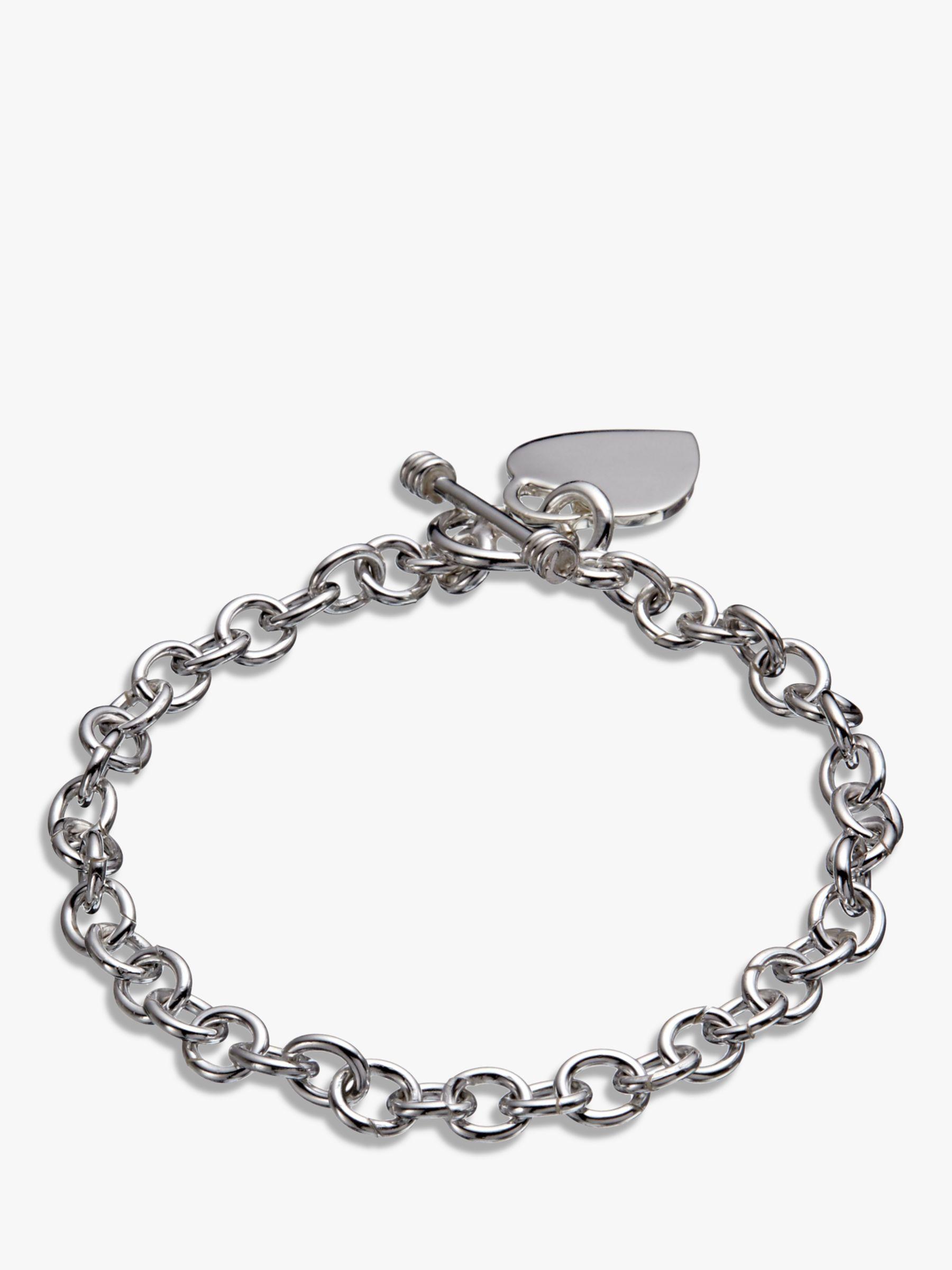 Andea Andea Sterling Silver Oval Link Heart Charm Bracelet, Silver