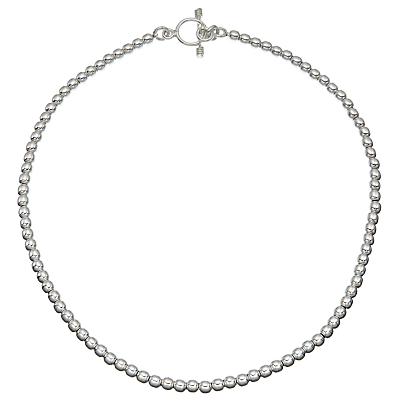 Andea Ball Bead Necklace, Silver