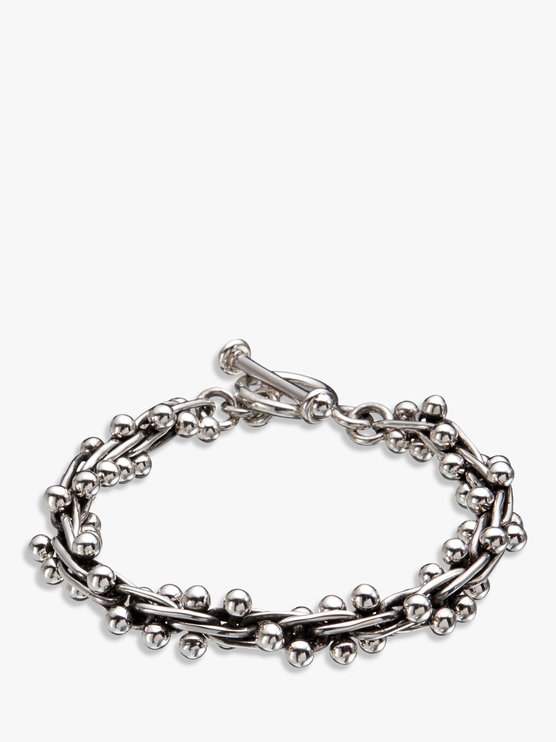 Andea Andea Sterling Silver Beaded Multi-Link Bracelet, Silver