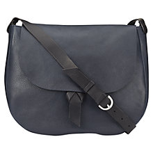 Buy Jigsaw Maud Leather Saddle Bag, Navy Online at johnlewis.com