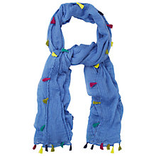 Buy White Stuff Dreaming Away Tassel Scarf, Washed Blue Online at johnlewis.com