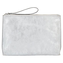 Buy Jigsaw Ivy Medium Suede Clutch Bag, Silver Online at johnlewis.com