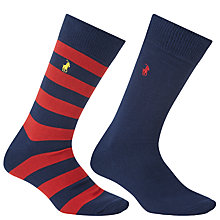 Buy Polo Ralph Lauren Rugby Stripe and Plain Socks, Pack of 2, One Size Online at johnlewis.com