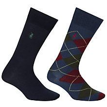 Buy Polo Ralph Lauren Argyle Socks, One Size, Pack of 2, Navy/Denim Online at johnlewis.com