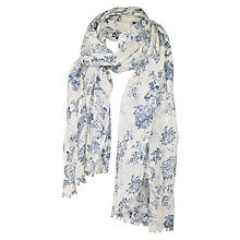 Buy Fat Face Woodblock Peacock Sequin Scarf, White Online at johnlewis.com