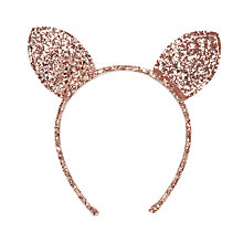 Buy John Lewis Girls' Glitter Bunny Headband, Pink Online at johnlewis.com