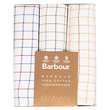 Buy Barbour Handkerchiefs, Pack of 3, Tattersall Assorted Online at johnlewis.com