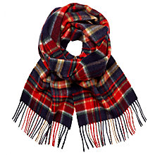 Buy Johnstons of Elgin Cashmere Multi Check Scarf, Red/Blue Online at johnlewis.com