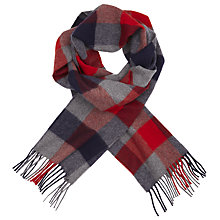 Buy Johnstons of Elgin Cashmere Gingham Scarf, Blue/Red Online at johnlewis.com