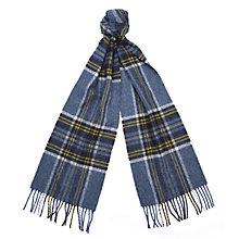 Buy Barbour Slaley Check Lambswool Scarf, Grey/Ochre Online at johnlewis.com