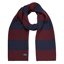 Buy Gant Lambswool Cotton Bar Stripe Scarf, Purple Fig Online at johnlewis.com