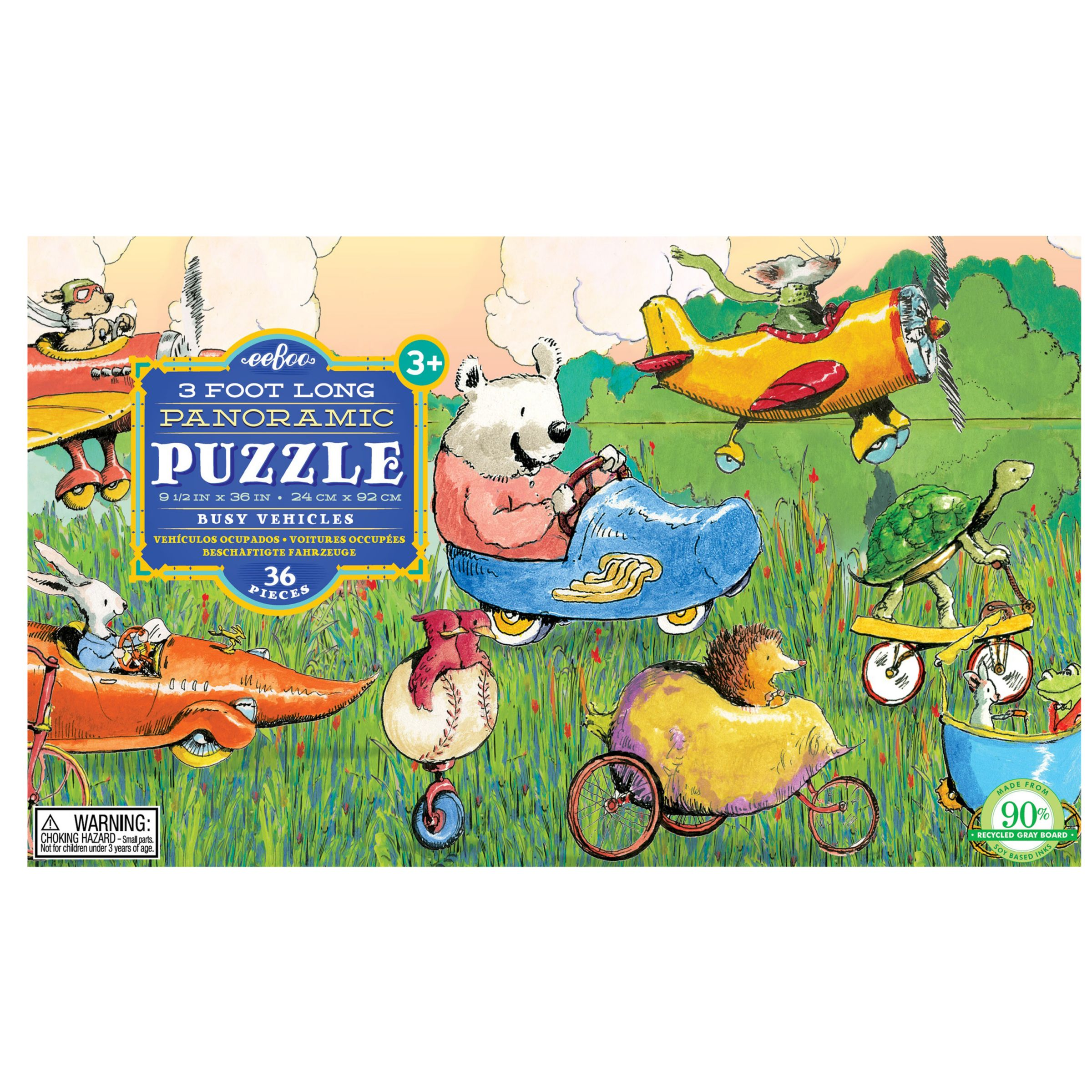 Eeboo Eeboo 3 Foot Long Panoramic Puzzle Busy Vehicles