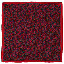 Buy John Lewis Paisley Print Silk Pocket Square, Red/Navy Online at johnlewis.com