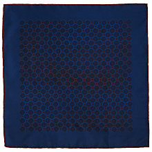 Buy John Lewis Tile Print Silk Pocket Square, Navy/Burgundy Online at johnlewis.com