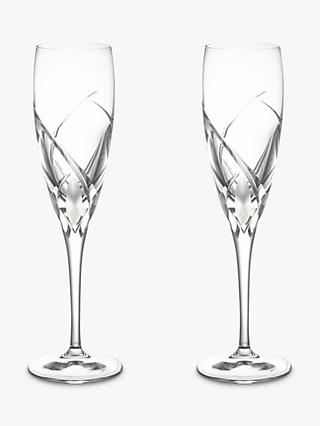 John Lewis & Partners Grosseto Cut Crystal Glass Champagne Flutes, 160ml, Set of 2, Clear