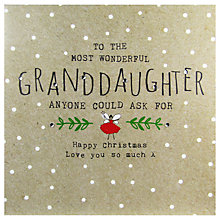 Buy Hammond Gower Grandaughter Words Christmas Card Online at johnlewis.com