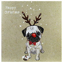 Buy Hammond Gower Christmas Pug Dog Card Online at johnlewis.com