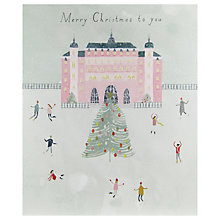 Buy John Lewis Pink Ice-Skating House Christmas Card Online at johnlewis.com