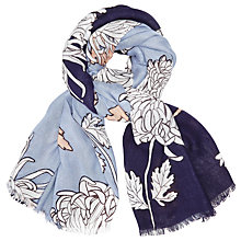 Buy John Lewis Colour Block Chrysanthemum Print Scarf, Navy/Sky Blue Online at johnlewis.com