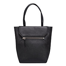 Buy French Connection Saffiano Zip Sage Tote Bag, Black Online at johnlewis.com