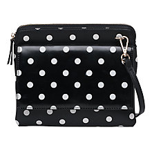 Buy French Connection PU Callie Pouch Bag, Polkadot Black Online at johnlewis.com