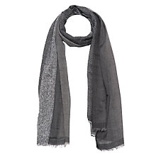 Buy French Connection Boarder Wool Scarf, Monochrome Online at johnlewis.com