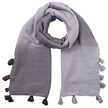 Buy Jigsaw Ombre Pom Pom Edge Scarf, Blue Online at johnlewis.com