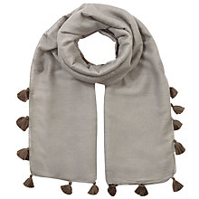 Buy Jigsaw Contrast Pom Pom Edge Scarf, Grey Online at johnlewis.com