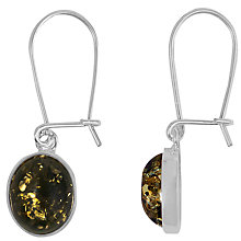 Buy Goldmajor Green Amber and Sterling Silver Drop Earrings, Sliver/Green Online at johnlewis.com