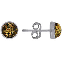 Buy Goldmajor Amber and Sterling Silver Stud Earrings, Silver/Amber Online at johnlewis.com