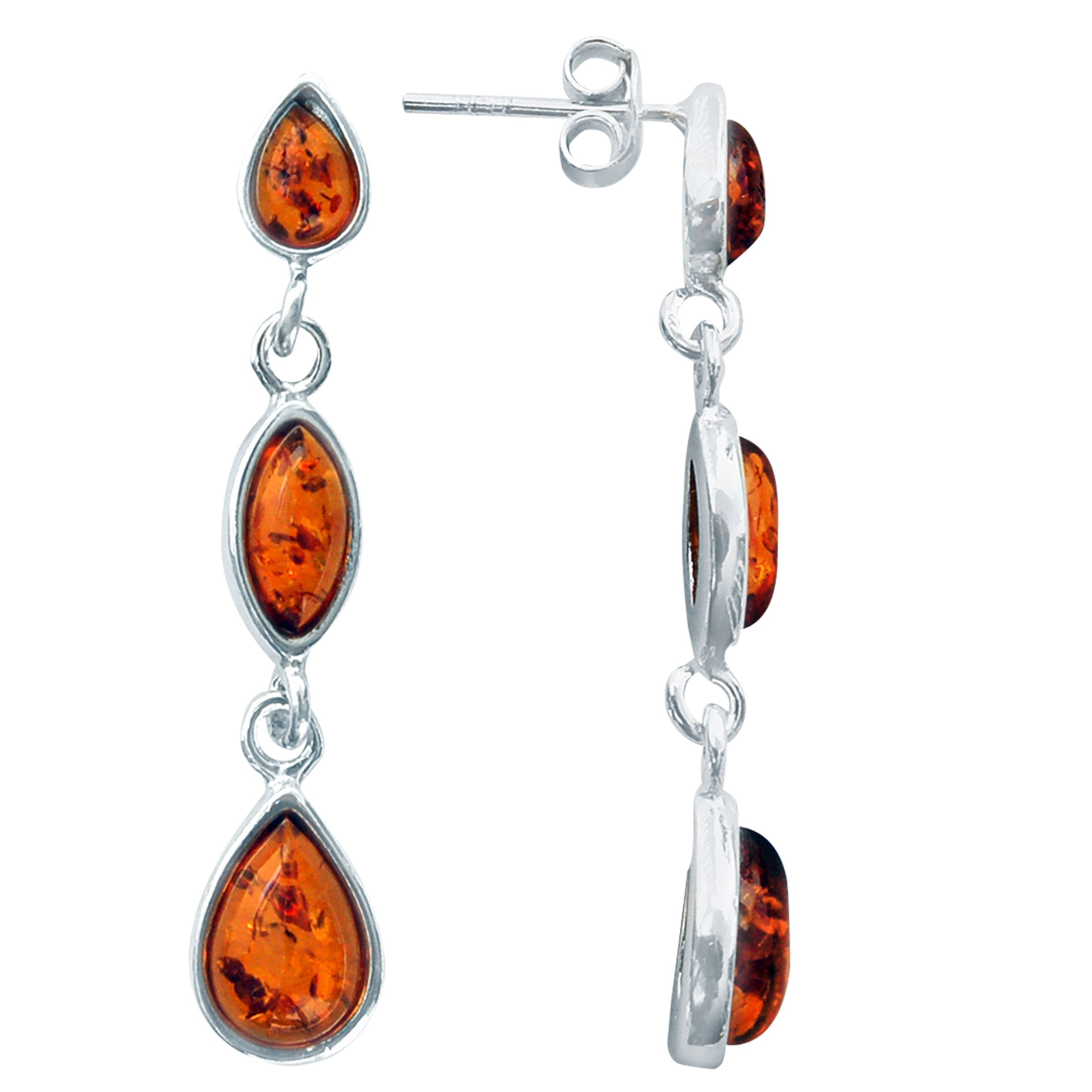 Goldmajor Goldmajor Amber and Sterling Silver Drop Earrings, Silver/Amber