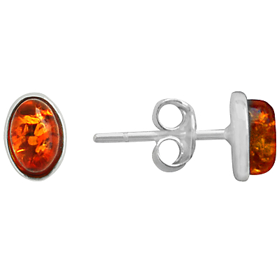Goldmajor Amber and Silver Stud Earrings, Silver/Amber