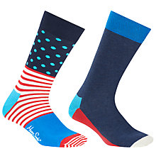 Buy Happy Socks Exclusive Stripe Dot Five Colour Socks, One Size, Pack of 2, Multi Online at johnlewis.com
