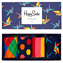 Buy Happy Socks Mix Pattern Socks, Pack of 4, One Size, Navy Online at johnlewis.com