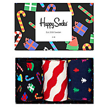 Buy Happy Socks Christmas Socks, One Size, Pack of 3, Multi Online at johnlewis.com