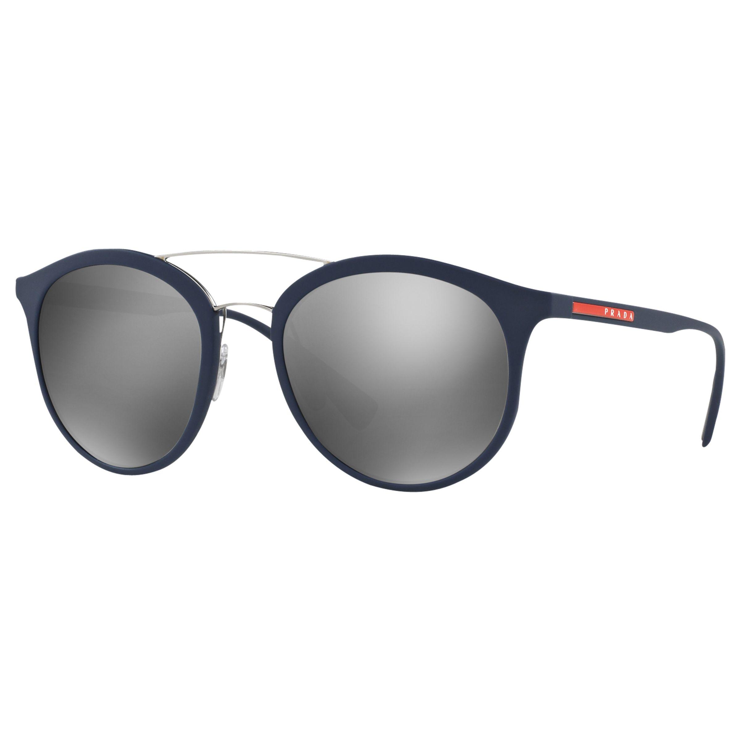 Prada Linea Rossa Prada Linea Rossa PS 04RS Oval Sunglasses, Navy/Silver