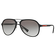 Buy Prada Linea Rossa PS 05RS Aviator Sunglasses, Black/Grey Gradient Online at johnlewis.com