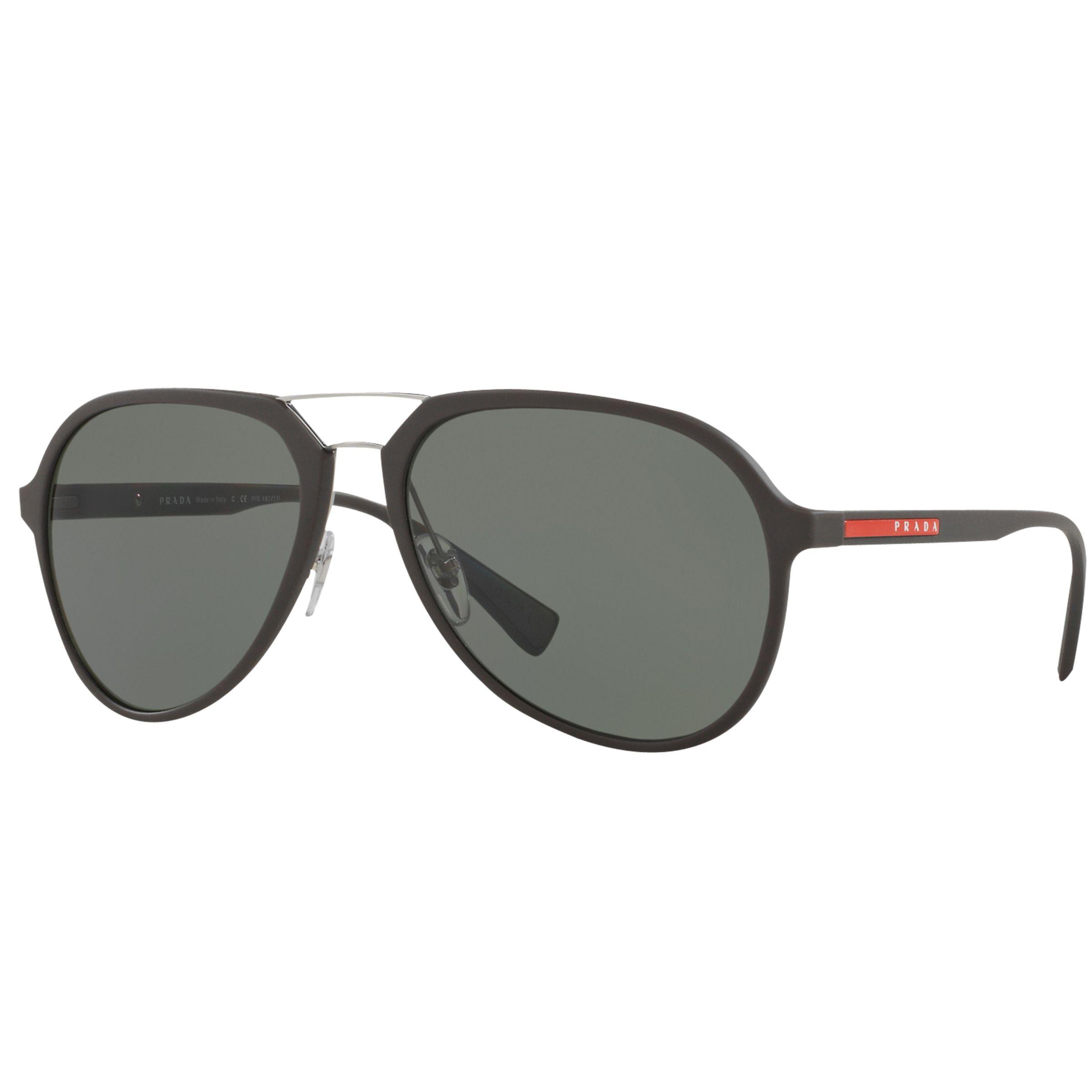 Prada Linea Rossa Prada Linea Rossa PS 05RS Polarised Aviator Sunglasses, Dark Brown/Green