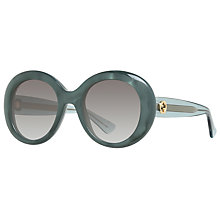 Buy Gucci GG 3815/S Round Sunglasses, Green/Grey Gradient Online at johnlewis.com