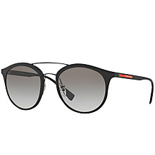 Buy Prada Linea Rossa PS 04RS Oval Sunglasses, Black/Grey Gradient Online at johnlewis.com