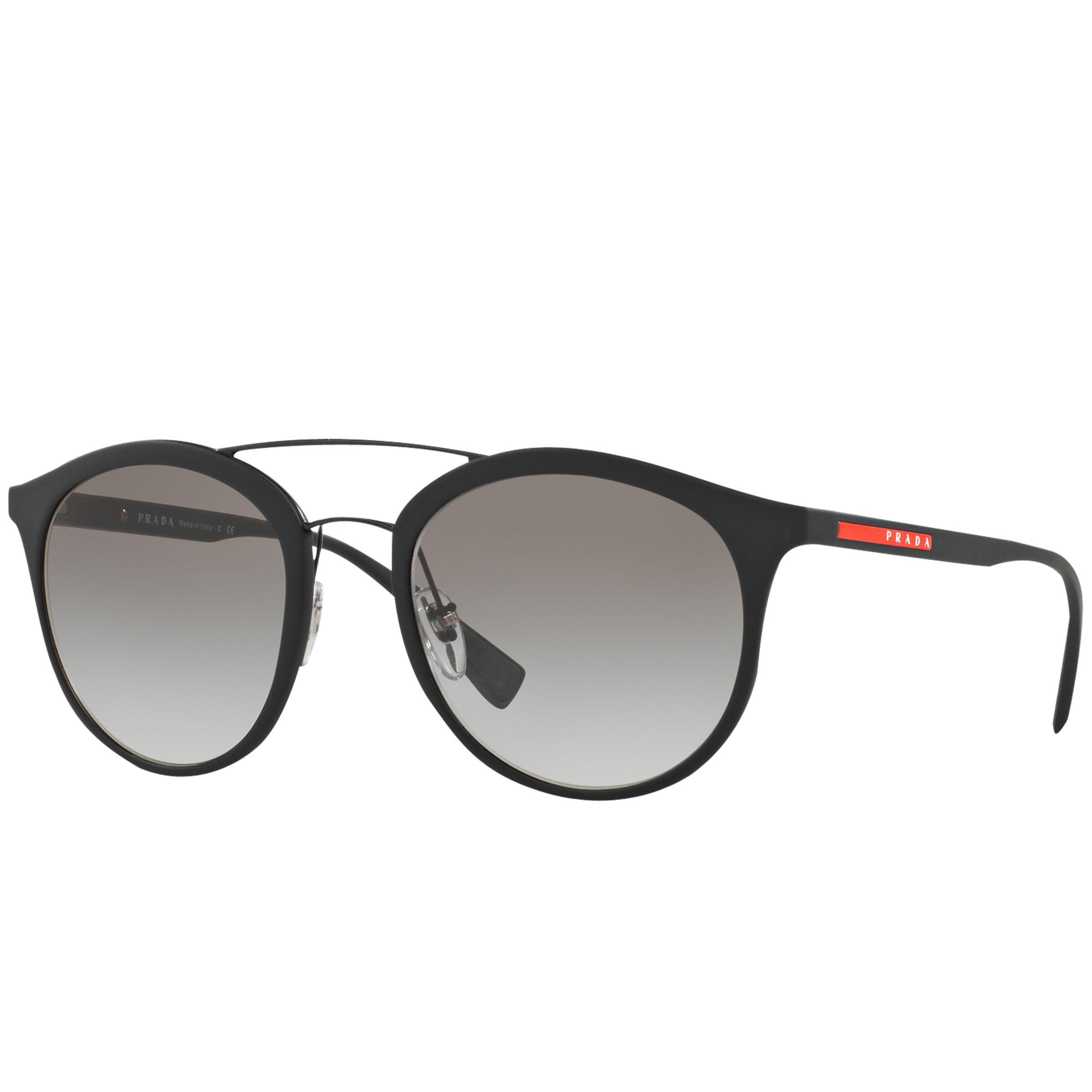 Prada Linea Rossa Prada Linea Rossa PS 04RS Oval Sunglasses, Black/Grey Gradient