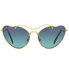 Buy Miu Miu MU 55RS Asymmetric Cat's Eye Sunglasses, Gold/Gradient Blue Online at johnlewis.com