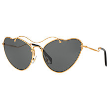 Buy Miu Miu MU 55RS Asymmetric Cat's Eye Sunglasses, Gold/Grey Online at johnlewis.com