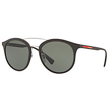 Buy Prada Linea Rossa PS 04RS Polarised Oval Sunglasses, Dark Brown/Green Online at johnlewis.com
