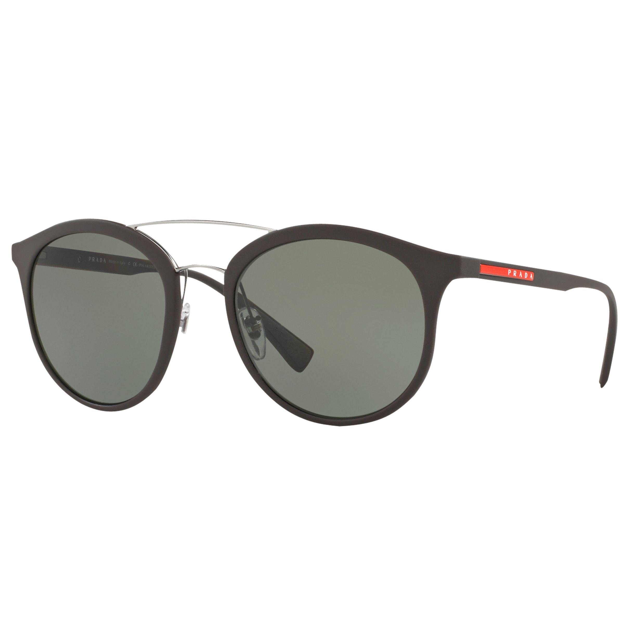 Prada Linea Rossa Prada Linea Rossa PS 04RS Polarised Oval Sunglasses, Dark Brown/Green