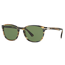 Buy Persol PO3148S Oval Sunglasses, Light Havana/Green Online at johnlewis.com