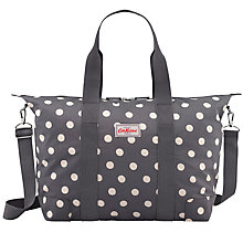 Buy Cath Kidston Buttonspot Overnight Bag, Charcoal Online at johnlewis.com