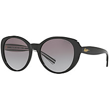 Buy Ralph Lauren RA5212 Oval Sunglasses, Black Stripe Online at johnlewis.com