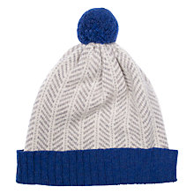Buy Green Thomas Herringbone Pom Pom Beanie Hat, Dark Blue/Grey Online at johnlewis.com
