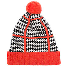 Buy Green Thomas Houndstooth Pom Pom Beanie Hat, Orange Mix Online at johnlewis.com
